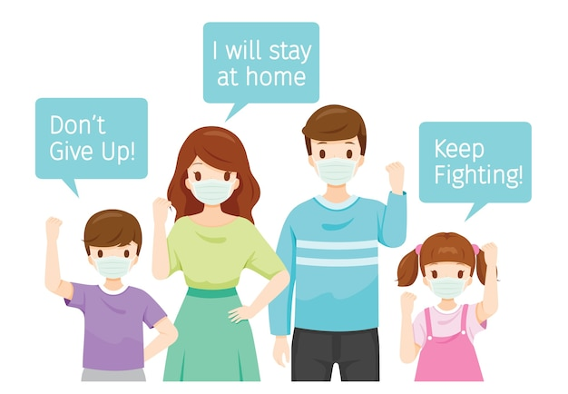 Familie draagt chirurgische maskers, houdt spandoeken vast, geef niet op, blijf vechten, ik blijf thuis, sociale afstand
