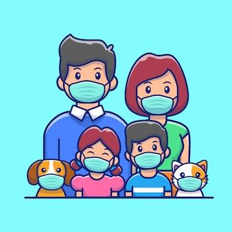 Familie dragen masker pictogram illustratie.