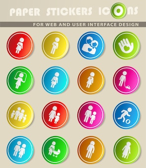 Familie eenvoudig symbolen voor web- en gebruikersinterface