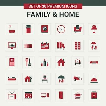 Familie en home-pictogrammen rood