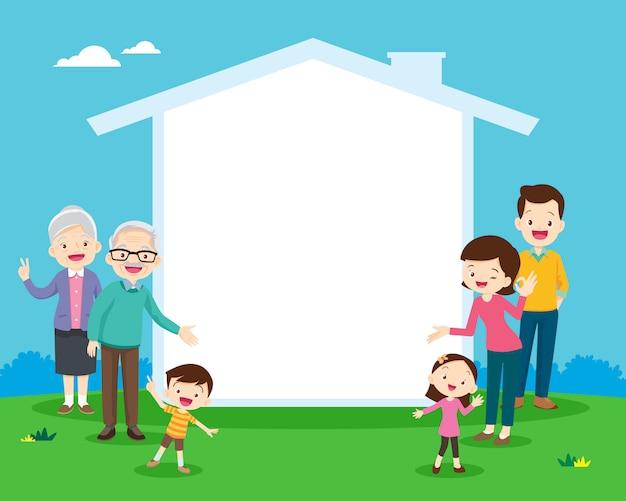Familie en huispictogram voor uw tekst
