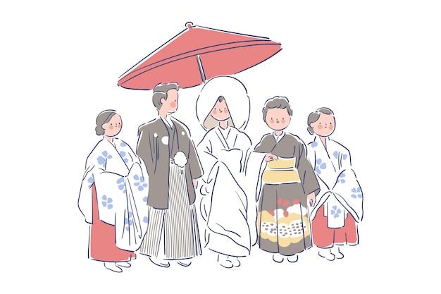 Familie en jonggehuwden die japanse kleren wieden