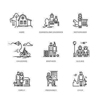 Familie en ouders, huwelijk en moederschap dunne lijn pictogrammen instellen
