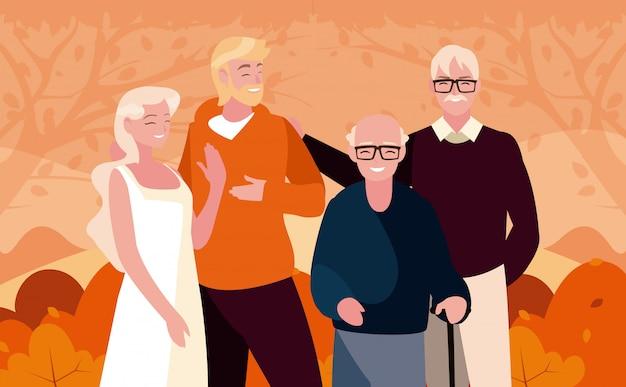 Familie en struiken in het vectorontwerp van het de herfstseizoen