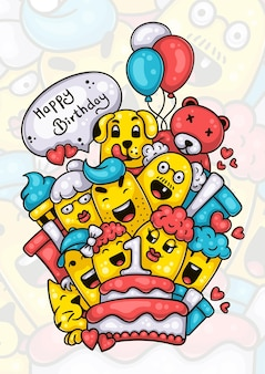 Familie en vrienden die een gelukkige eerste verjaardag wensen aan het handgetekende doodle-kunstwerk van het babymeisje