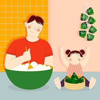 Familie eten en zongzi voorbereiden