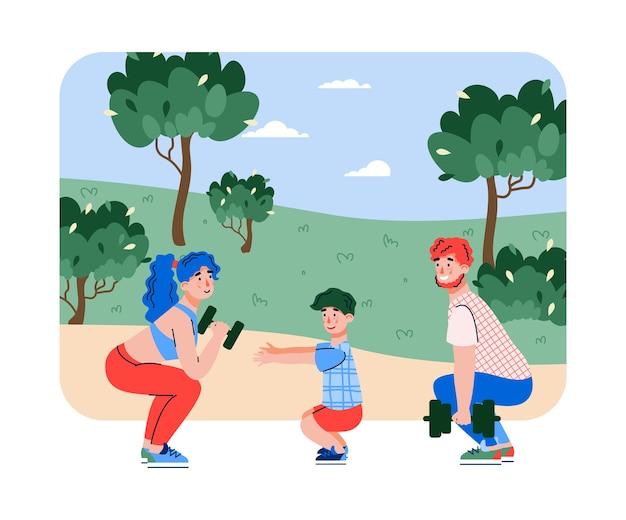 Familie exersizing gehurkt, platte cartoon illustratie geïsoleerd