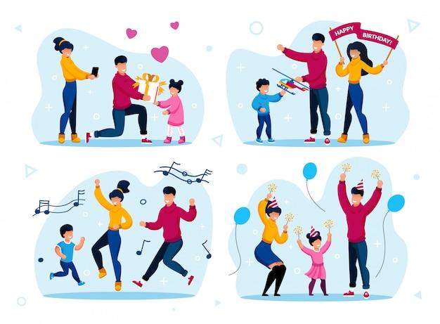 Familie familie vakantie viering set
