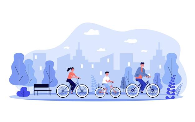 Familie fietsen in stadspark