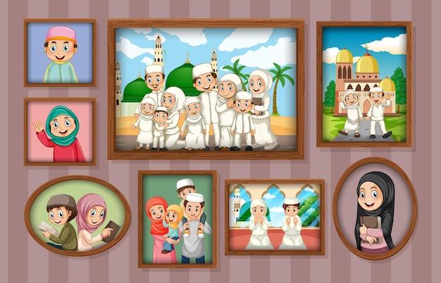 Familie fotolijsten hangen aan de muur Premium Vector