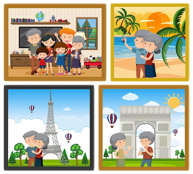Familie fotolijsten hangen aan de muur