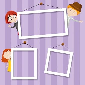 Familie frame achtergrond scène