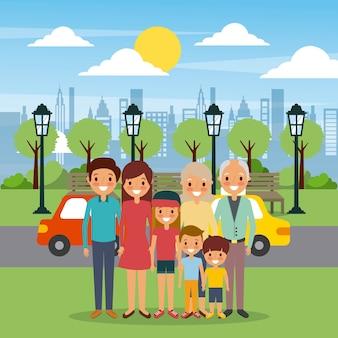 Familie gelukkig in de hemel van de straatauto's van de parkstad