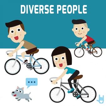 Familie gelukkige fietser