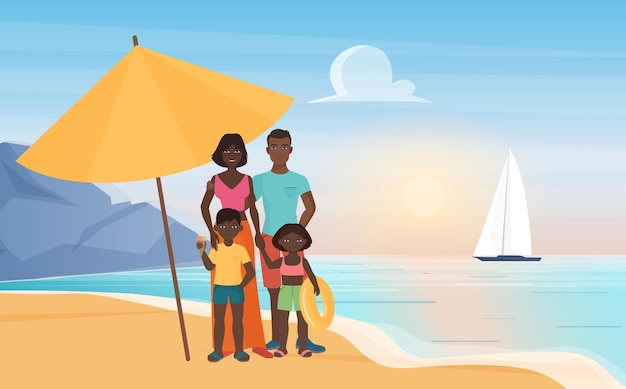 Familie gelukkige mensen staan onder parasol op tropisch eiland paradijs resort at
