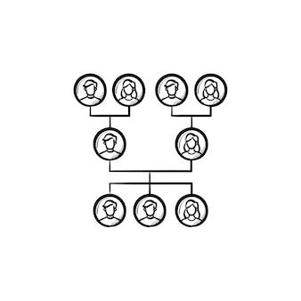 Familie genealogische boom hand getrokken schets doodle icon