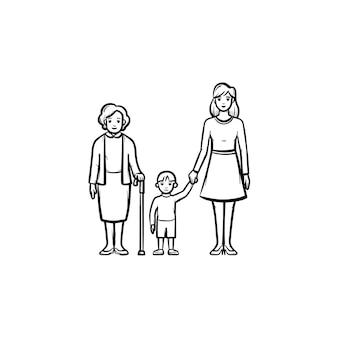 Familie generatie hand getrokken schets doodle icon