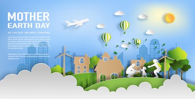 Familie geniet van activiteiten buiten met ecologische groene stad concept.