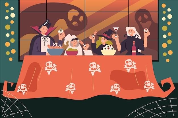 Familie genieten van een halloween-diner