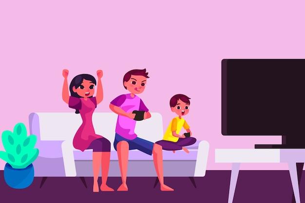 Familie genieten van tijd samen concept