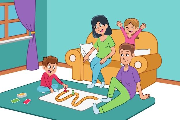 Familie genieten van tijd samen speelspel