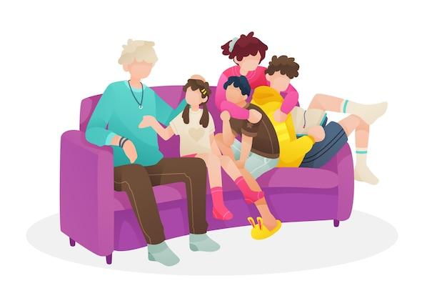 Familie genieten van tijd