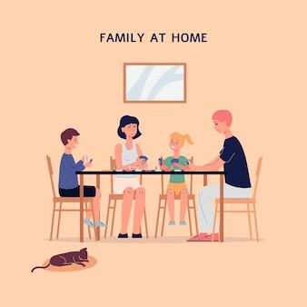 Familie gezamenlijke vrije tijd en recreatie thuis vlakke afbeelding