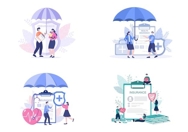 Familie gezondheids- en levensverzekeringen platte vector illustraties set