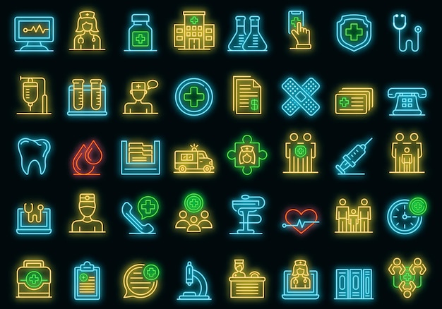 Familie gezondheidskliniek pictogrammen instellen. overzicht set van familie gezondheidskliniek vector iconen neon kleur op zwart