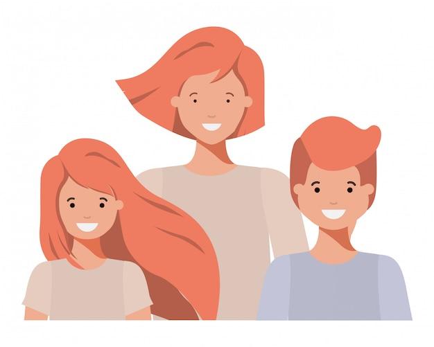 Familie glimlachend en zwaaiende avatar karakter