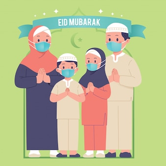 Familie groet eid mubarak gebruik gezichtsmasker covid-uitbraak