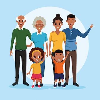 Familie grootouders, ouders en kinderen cartoons