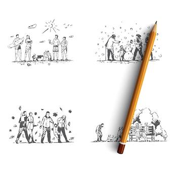 Familie hand getekende illustratie