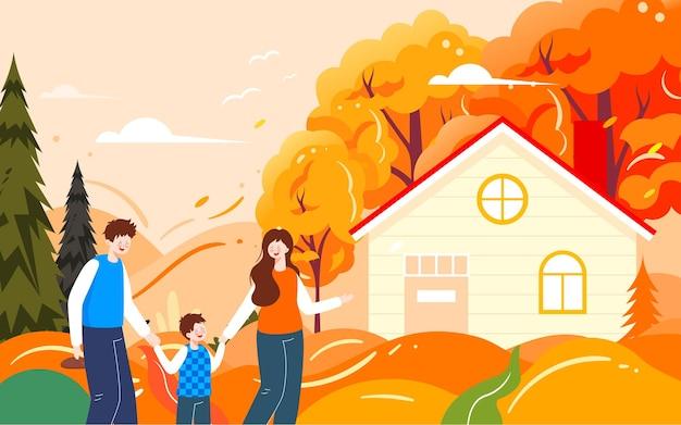 Familie herfstuitje illustratie herfst karakters buitenactiviteiten reizen poster