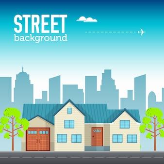 Familie huis bouwen in stadsruimte met weg op platte syle achtergrond concept