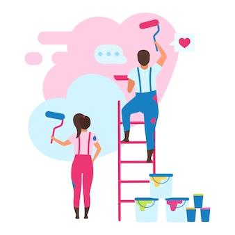 Familie huis vlakke afbeelding versieren. vrouw en echtgenoot die kleur kiezen voor het beeldverhaalkarakter van het binnenlands ontwerp. wederopbouw. appartement muurschildering. renovatie van woonruimte