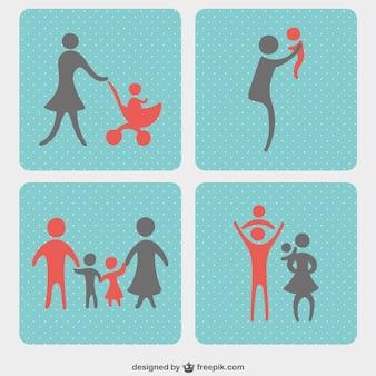 Familie iconen vector set