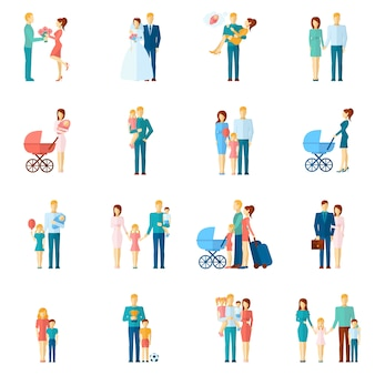 Familie icons set