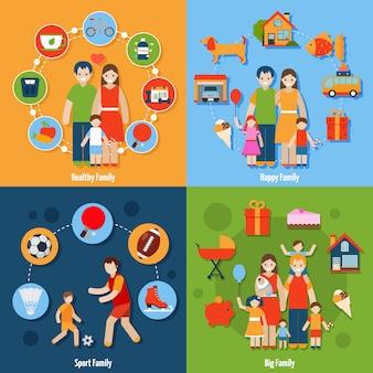 Familie icons set