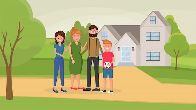 Familie in de buurt van het huis