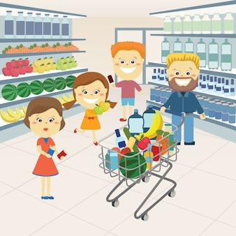 Familie in de supermarkt.