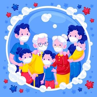 Familie in een zeepbel beschermd tegen virus