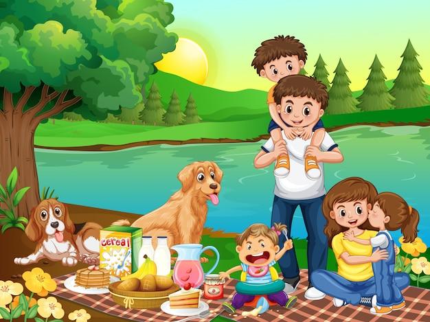 Familie in het park