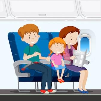 Familie in het vliegtuig