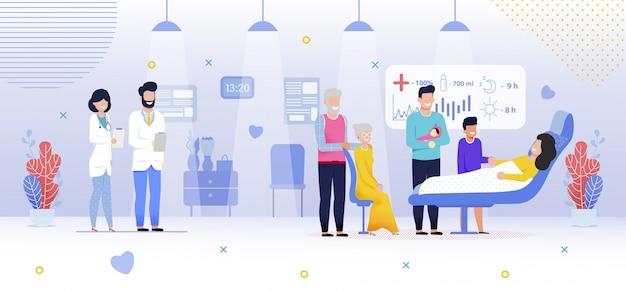 Familie in het ziekenhuis, pasgeboren babymeisje, plat
