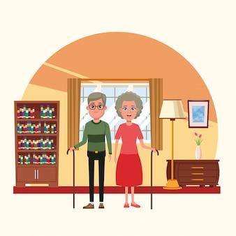Familie in huis landschap cartoons