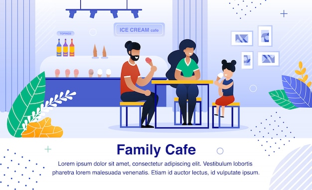 Familie in ice cream cafe flat banner