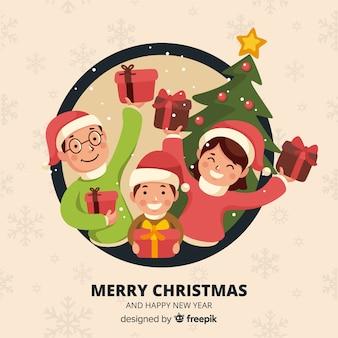 Familie in kerstmis
