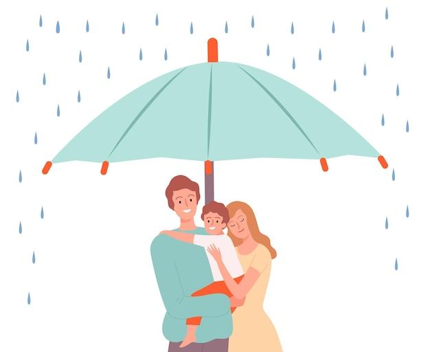 Familie in kluis. ouders met kind onder grote paraplu. gezondheidsbescherming, veiligheid of vriendelijk sfeer vectorconcept. illustratie bescherming veilige paraplu, familie veiligheid en beschermen