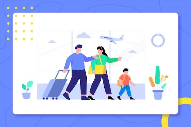Familie in luchthaven samen op vakantie gaan design